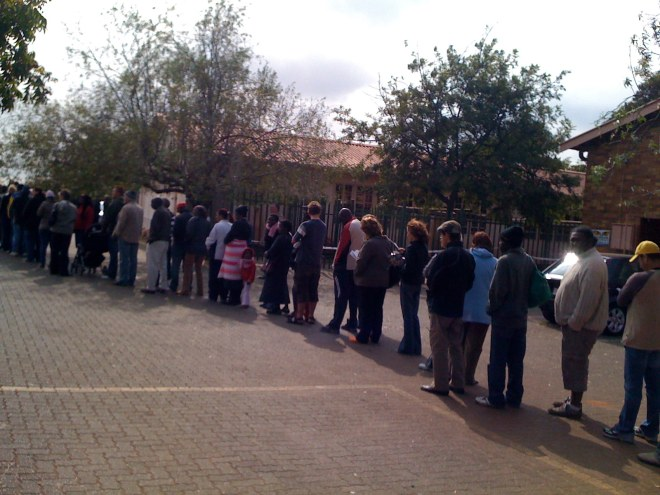 the voting line at westdene rec centre